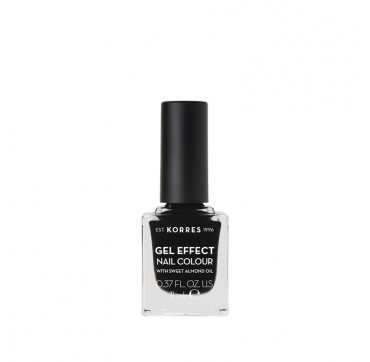 KORRES 100 BLACK GEL EFFECT NAIL COLOUR WITH SWEET ALMOND OIL 11ml