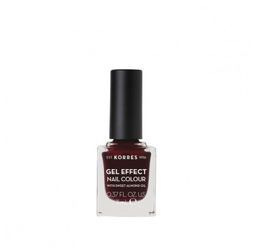 KORRES 57 BURGUNDY RED GEL EFFECT NAIL COLOUR WITH SWEET ALMOND OIL 11ml