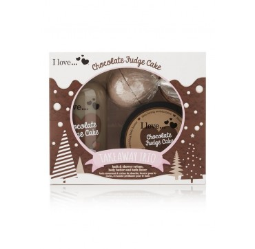 I LOVE COSMETICS Takeaway Trio Chocolate Fudge Cake Ενυδατικό Αφρόλουτρο 500ml & Body Butter 200ml & Άλατα Μπάνιου 150g