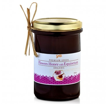 Smile Premium Greek Organic Flowers Honey With Equisetum Βιολογικό Μέλι Ανθέων 410g