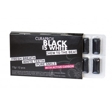 CURAPROX BLACK IS WHITE CHEW FOR WHITE ΤΣΙΧΛΑ ΜΕ ΕΝΕΡΓΟ ΑΝΘΡΑΚΑ 17G/12PCS