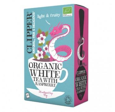 CLIPPER ORGANIC WHITE TEA WITH RASPBERRY ΒΙΟΛΟΓΙΚΟ ΛΕΥΚΟ ΤΣΑΪ ΜΕ ΒΑΤΟΜΟΥΡΟ 45G/26BAGS
