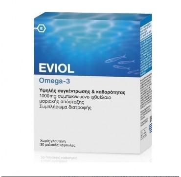 Eviol Omega-3 1000mg Συμπυκνωμένο Ιχθυέλαιο 30 Soft Caps