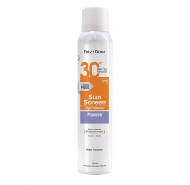 Frezyderm Sunscreen Mousse Spf30 Face/body Αντηλιακό Προσώπου/σώματος 150ml + 50ml Δώρο
